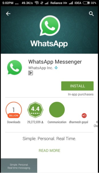 install official whatsapp from playstore