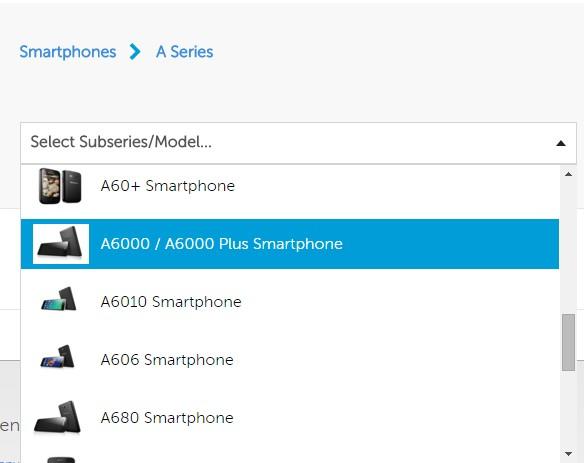 select lenovo mobile model