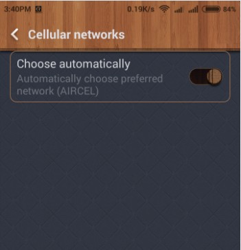 Set Mobile Network Automatically