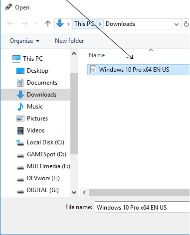 Select the Windows 10 iSO you want to Install