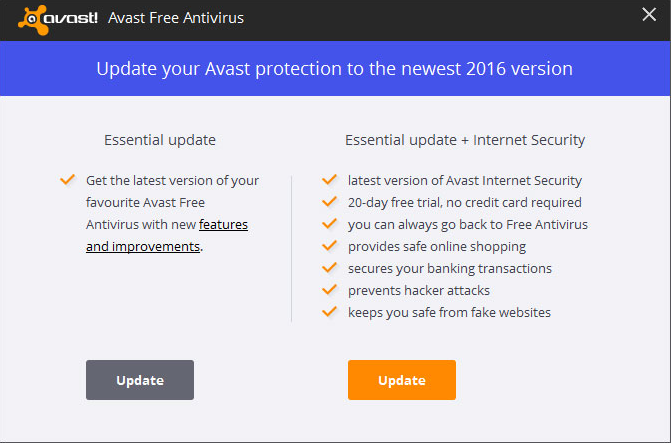 upgrade avast free antivirus