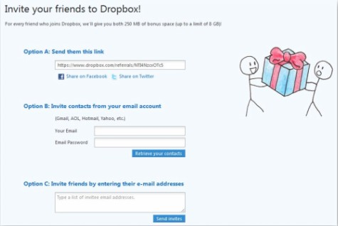 Refer your friends or Invite your friends to Dropbox