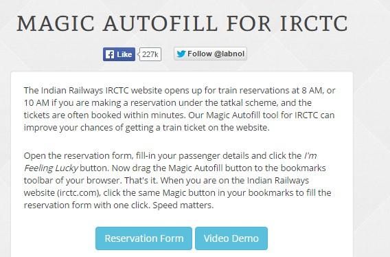 magic auto fill tatkal booking