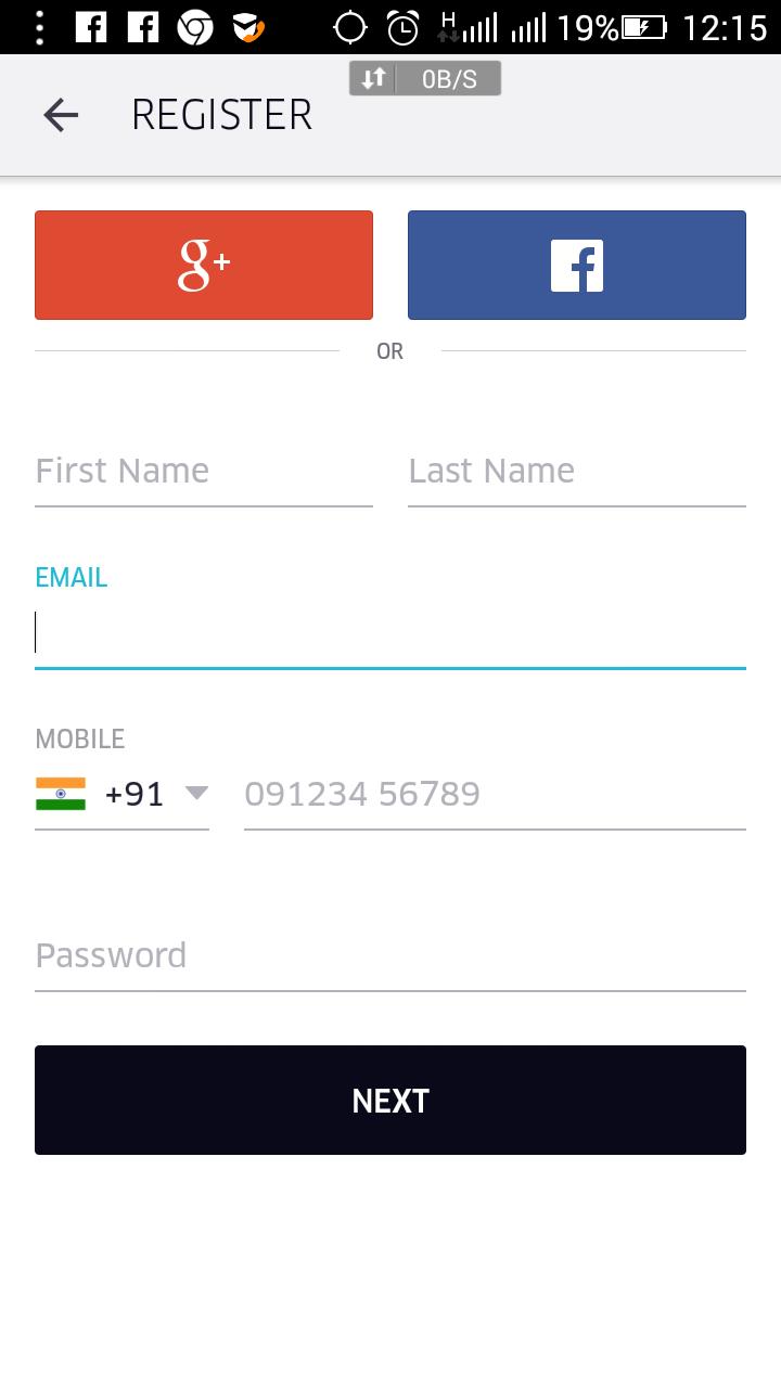 Uber New User sign up