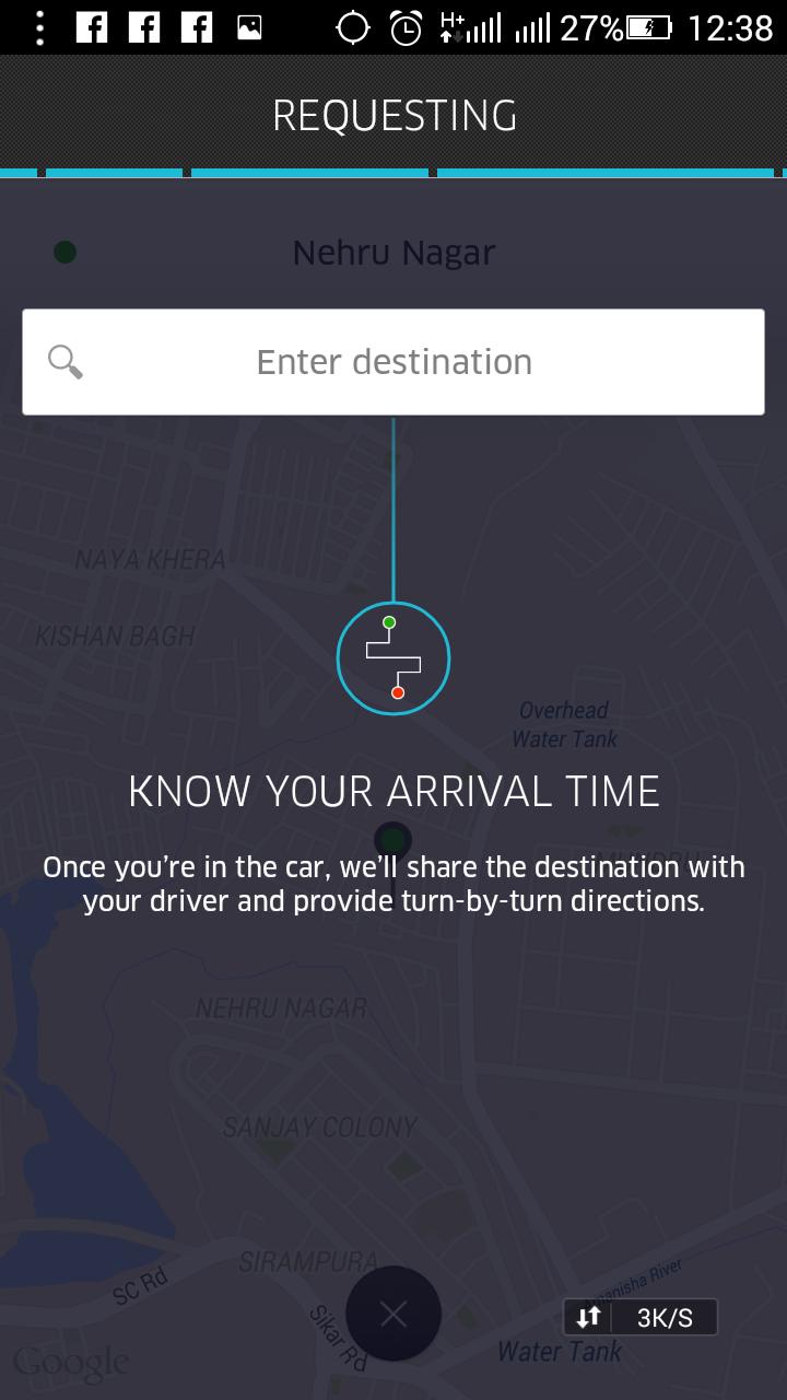 uber cab booking request