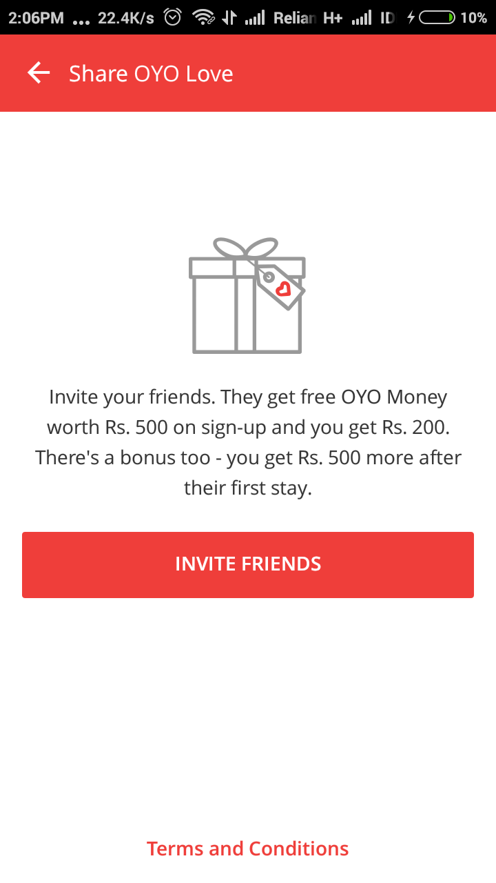 oyo invite friends code