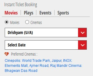 movie ticket booking on bookmyshow