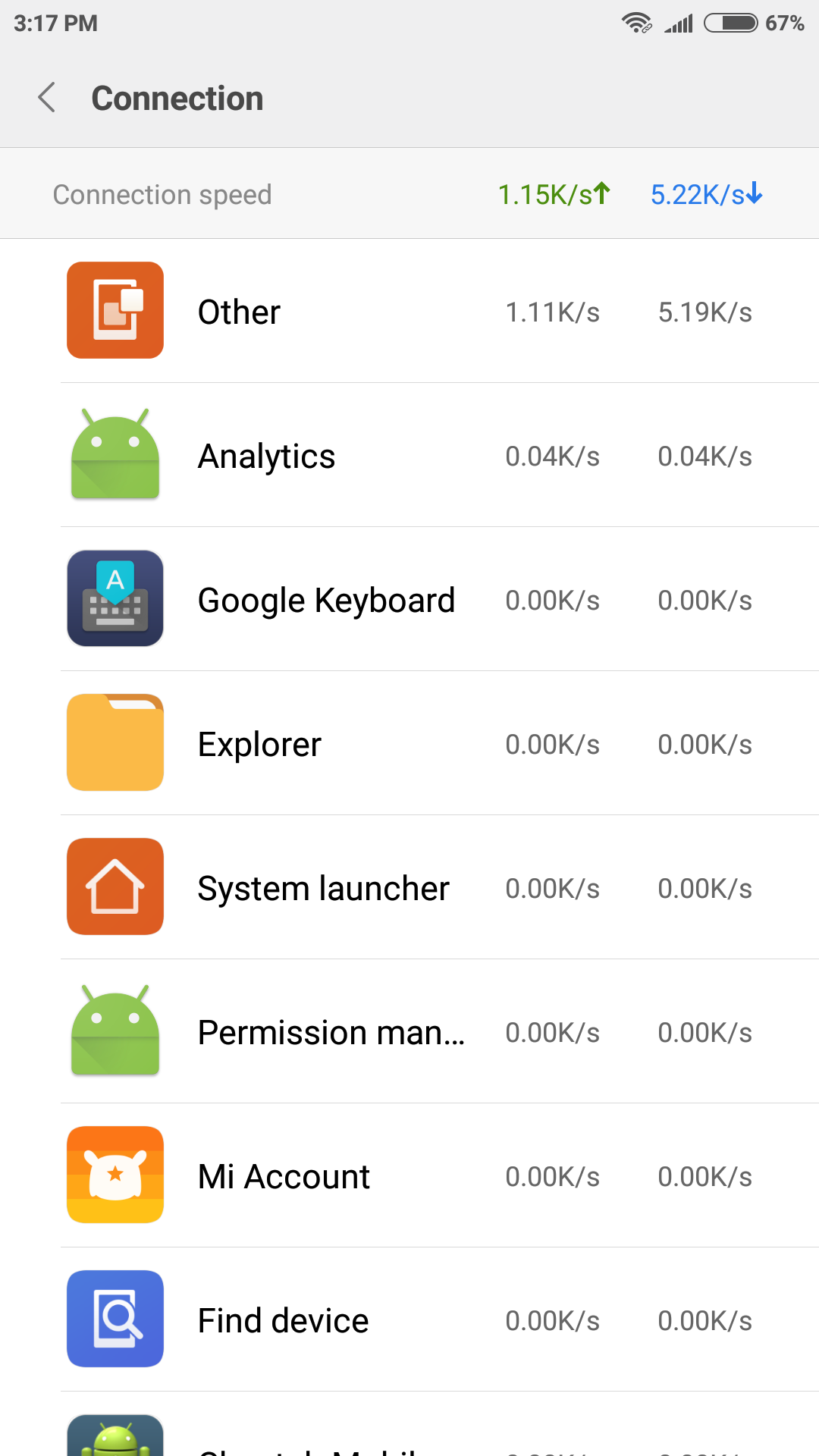 connection speed in miui 8
