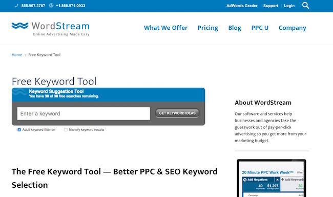 wordstream-keyword-tool